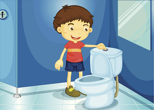 A cartoon boy flushing the toilet » Clipart Station.