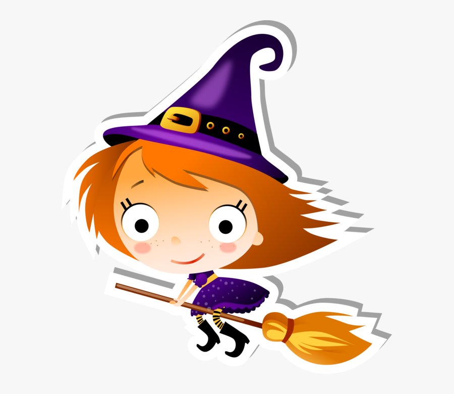Cute Flying Witch On A Broom Clipart , Png Download.