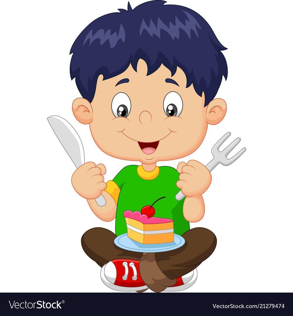 Cartoon boy eating cake isolated on white backgrou.