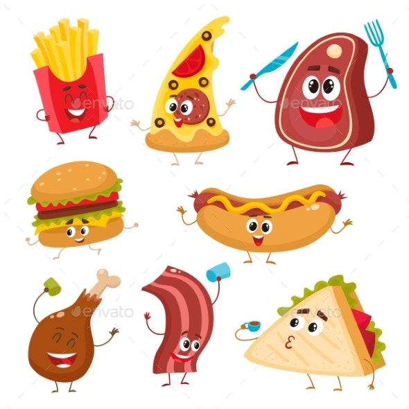 Set of Funny Cartoon Fast Food Characters.