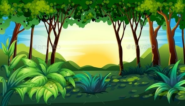 2d animated forest scene.