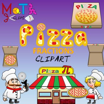 Ultimate Pizza Fractions Clip Art.