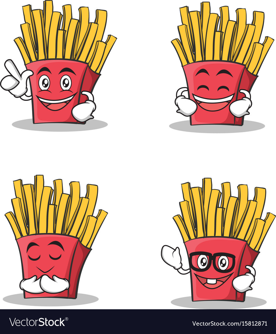 Set of french fries cartoon character.