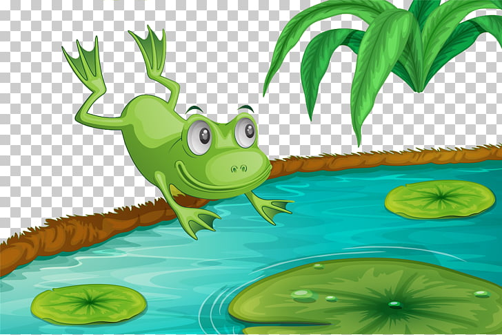Frog Cartoon, Frog in the lotus pond, green frog jumps.