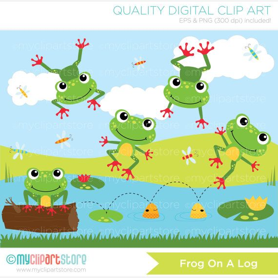 Frog on a log vector clipart, red toed frog, duck pond, lily.
