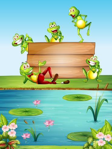 Wooden sign template with many frogs by the pond.