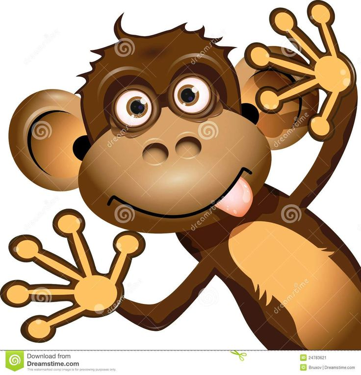 Monkey Making Funny Face Clip Art.