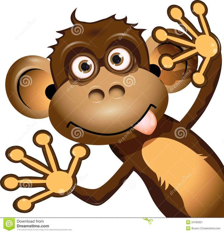 Monkey Making Funny Face Clip Art.