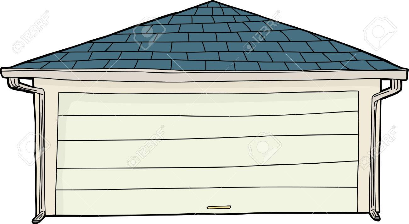 Cartoon of single residential garage with gutters.