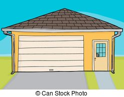 Empty yellow garage. Isolated yellow cartoon garage with.