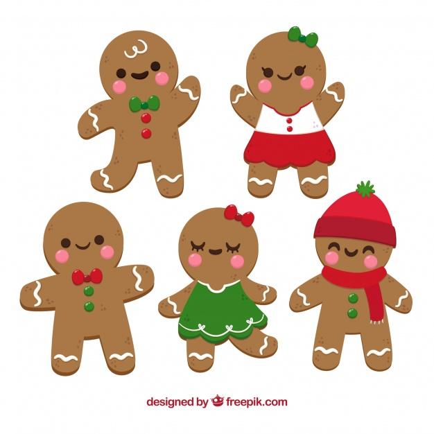 Gingerbread man cookies in cartoon style Vector.
