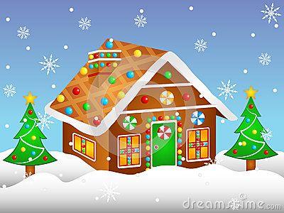 Vector Illustration Clipart Cartoon Gingerbread House.