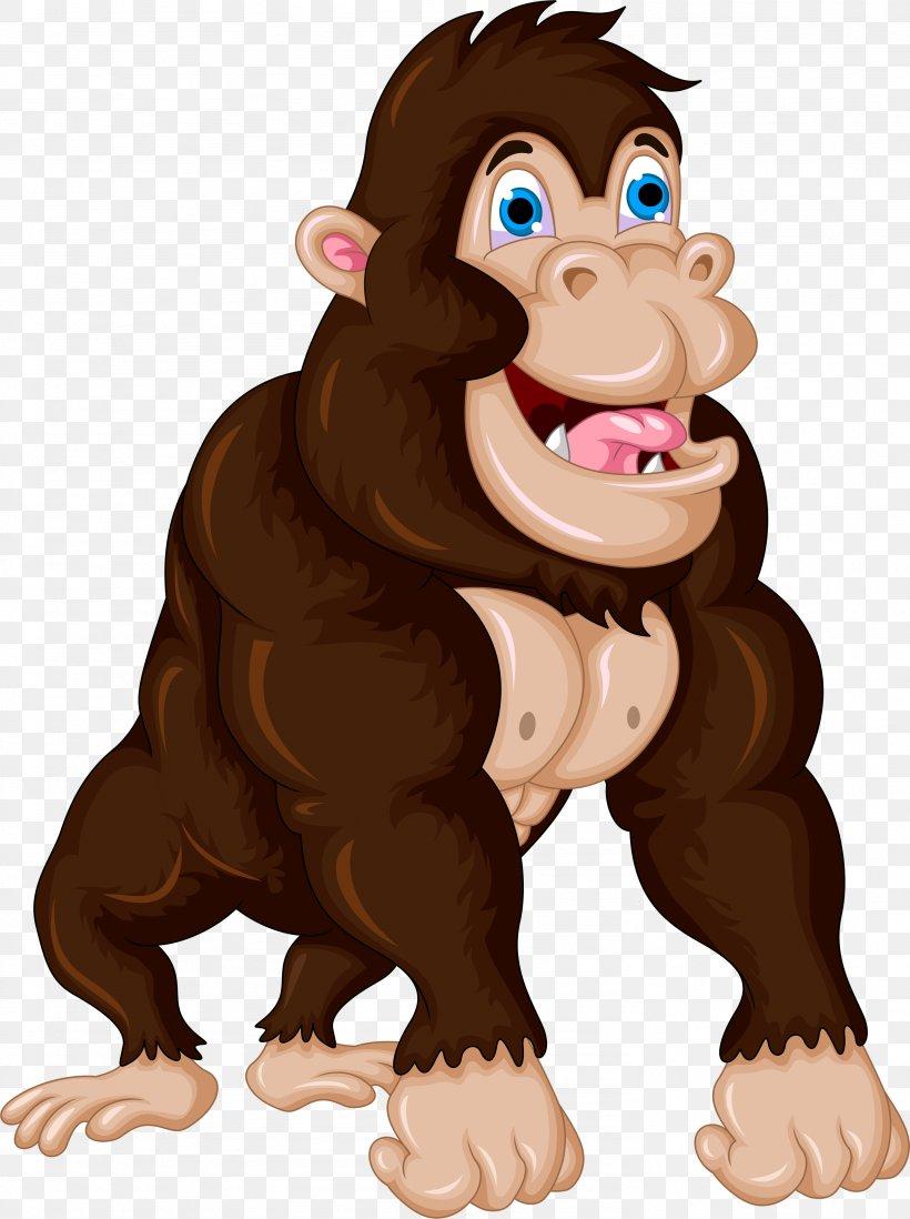 Gorilla Cartoon Chimpanzee Clip Art, PNG, 2971x3979px.