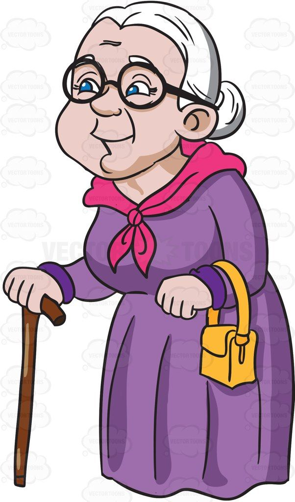 A charming and happy grandmother #cartoon #clipart #vector.
