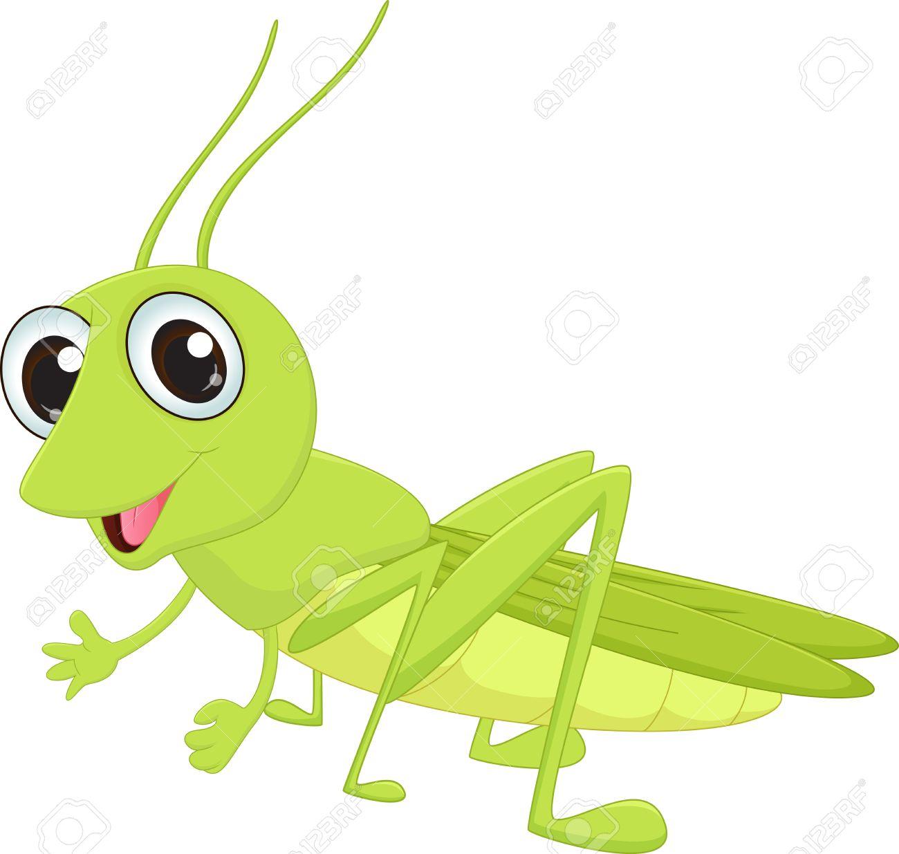Cute grasshopper cartoon.