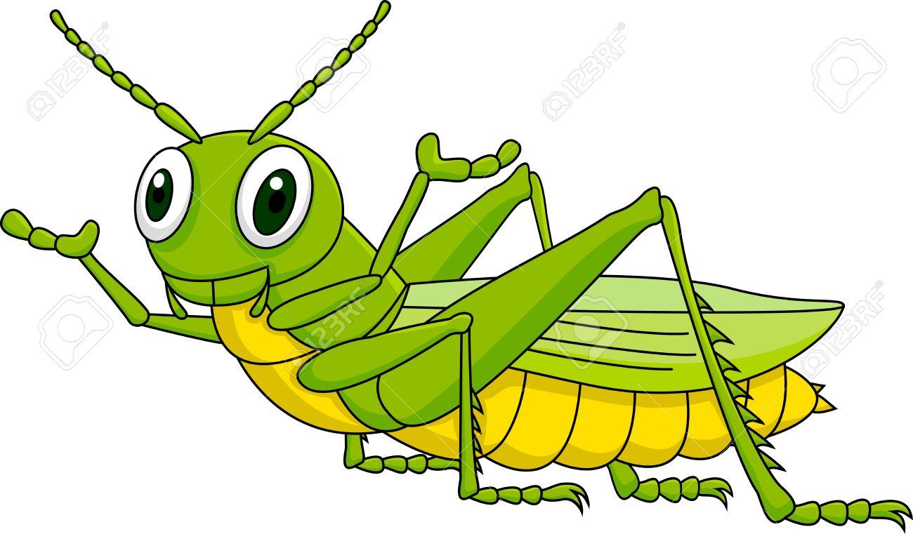 Illustration of cute grasshopper cartoon.