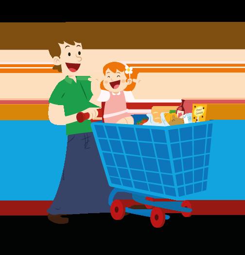 Supermarket Grocery store Cartoon Food.