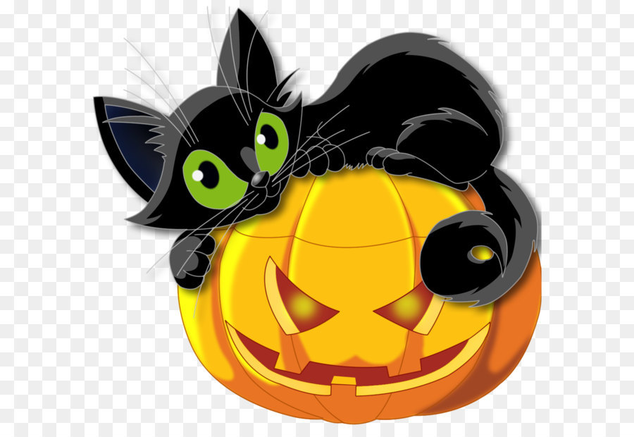 Large Transparent Halloween Pumpkin With Black Cat Clipart.