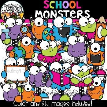 School Monsters Clipart {Halloween Clipart}.