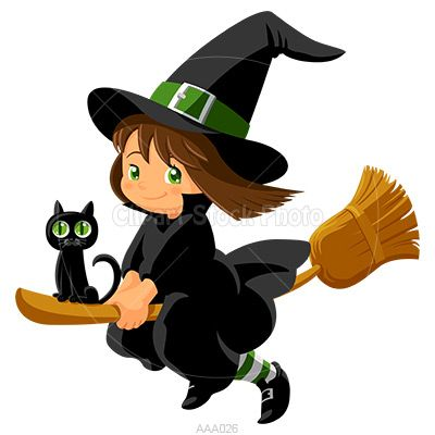 Cute flying witch wit black cat.
