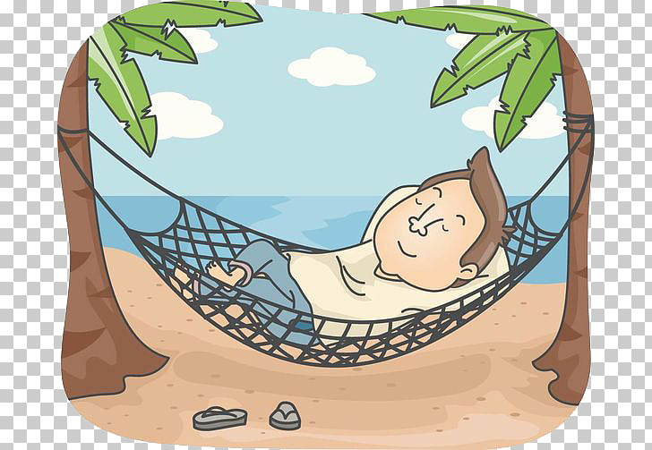 Beach Relaxation Hammock , Resting man PNG clipart.