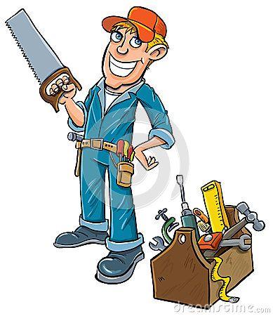 Cartoon handyman with toolbox. by Anton Brand, via.