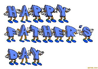 Animated blue dancing Happy Father\'s Day banner.