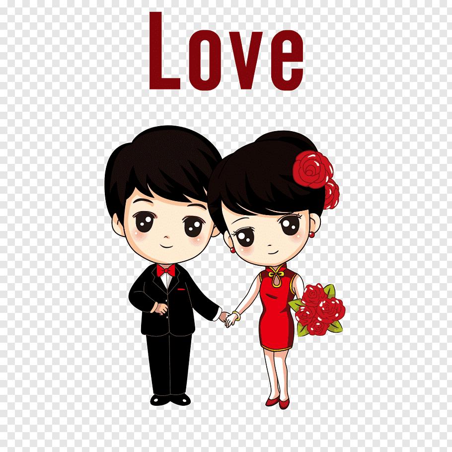Couple, Cartoon Drawing Marriage Film, cartoon bride and.