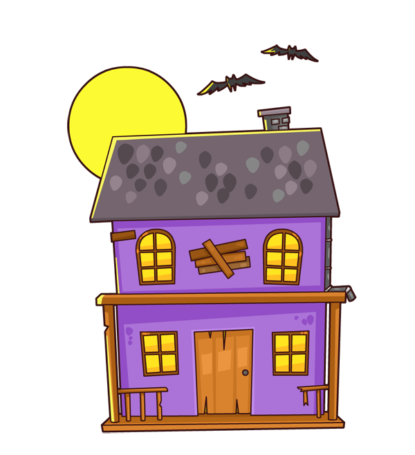 Animated haunted house clipart.