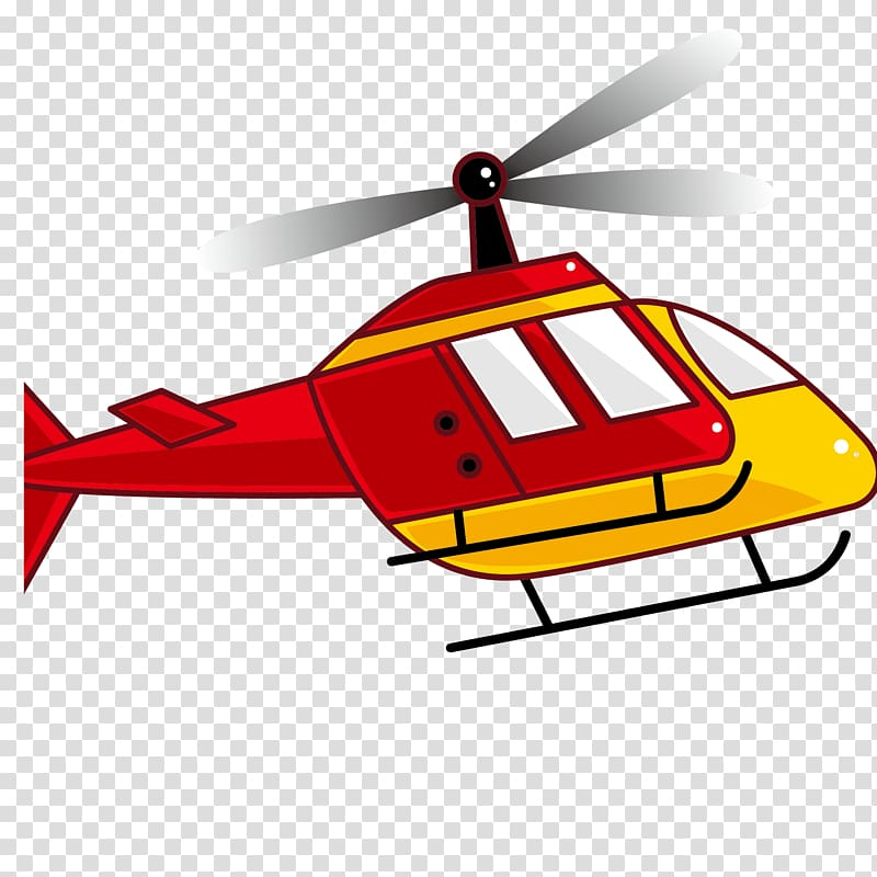 Helicopter rotor Airplane , Cartoon red helicopter.