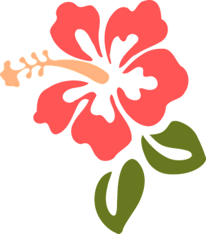 Clip Art Illustration Of A Hawaiian Hibiscus Flower Animated.