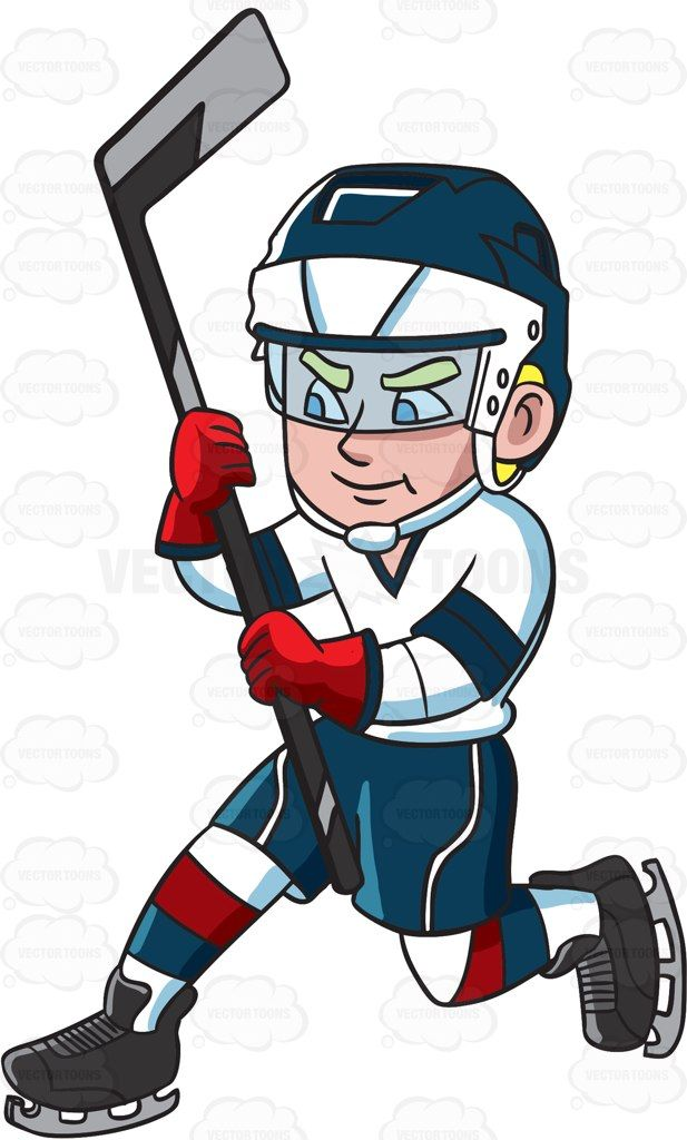 A hockey player after hitting the puck for a shot at the.