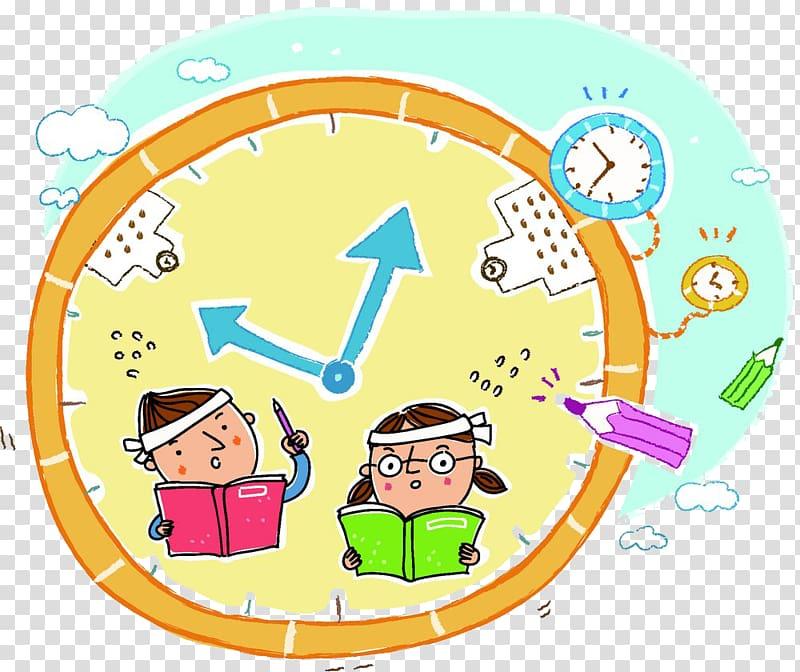 Student Homework Cartoon, Cartoon alarm clock transparent.