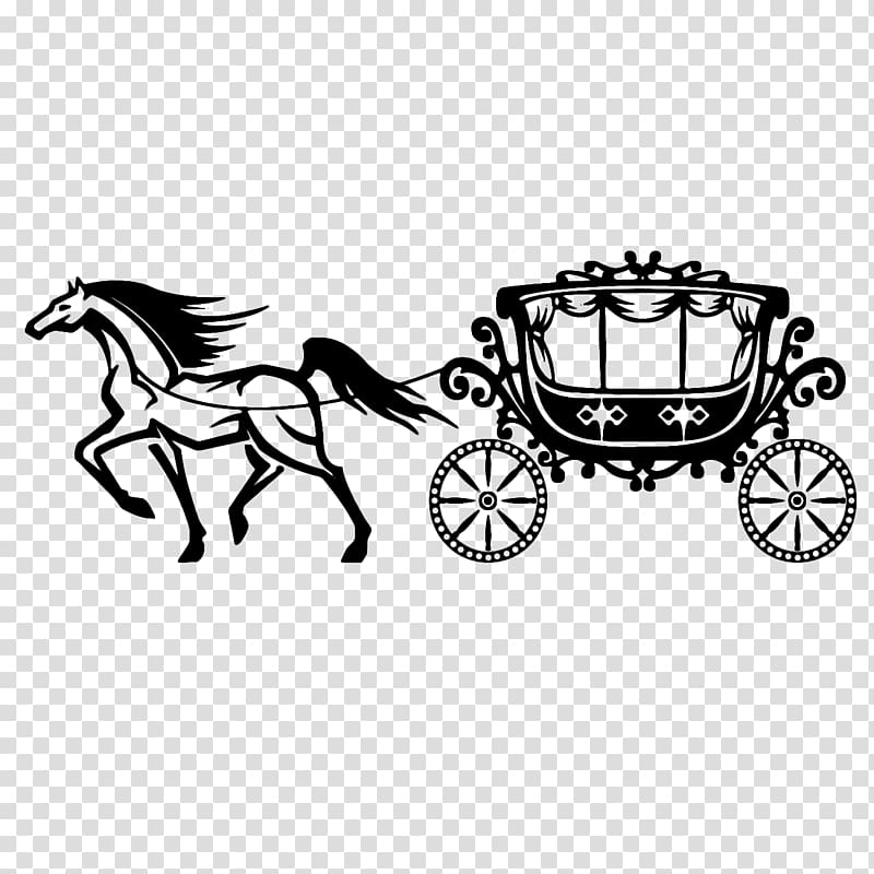 Black horse carrying carriage illustration, Horse and buggy.