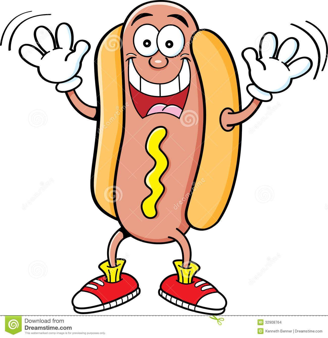 Cartoon Hotdog Waving Stock Images.