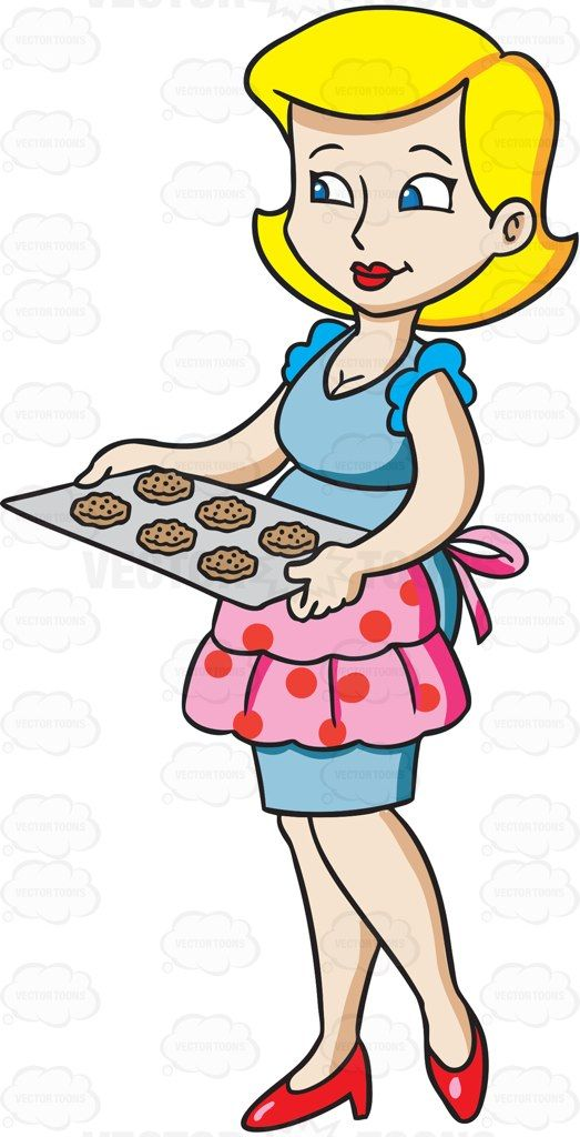 A housewife serving cookies #cartoon #clipart #vector.