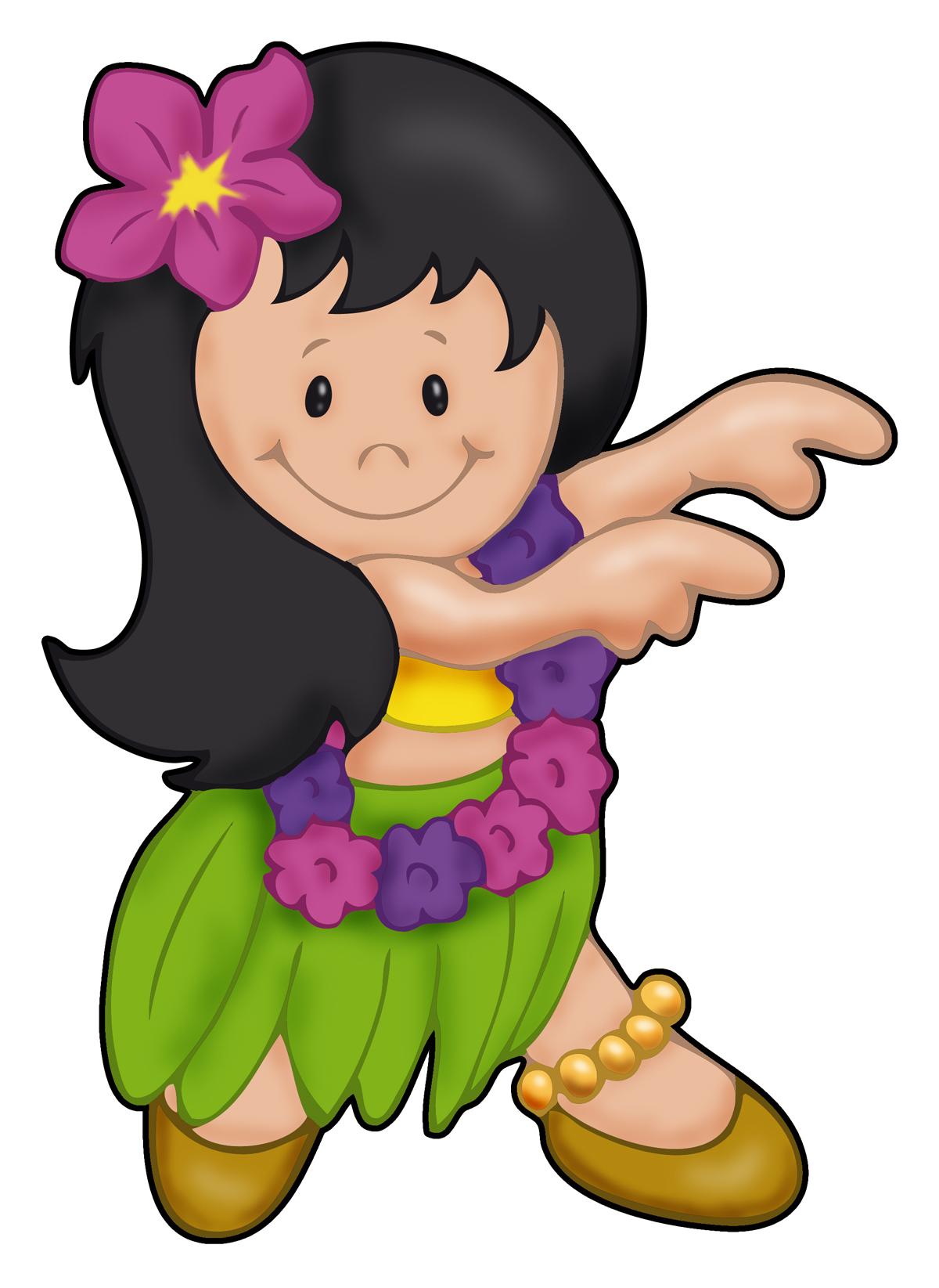 Cartoon hula girl clipart.