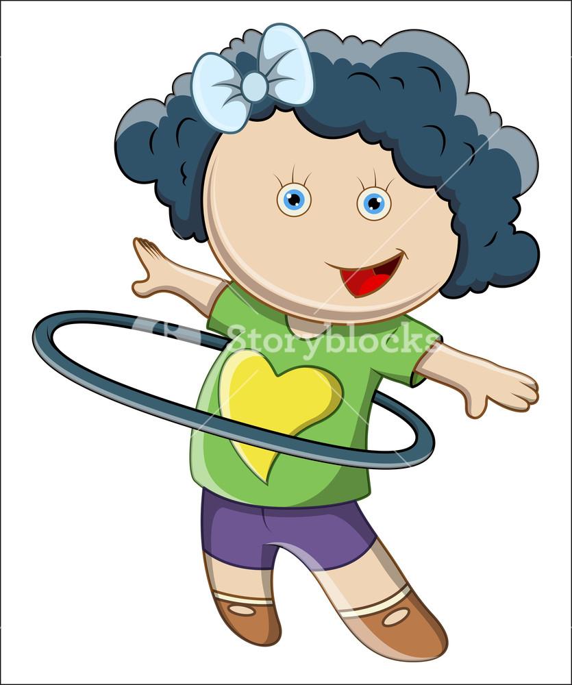Little Girl Doing Hula Hoop.