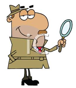 A Cartoon of an Inspector Holding a Magnifying Glass.