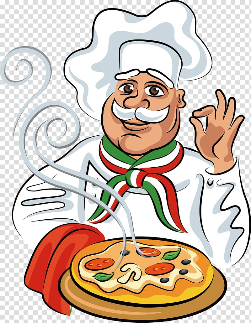 Chef holding pizza illustration, Pizza Italian cuisine Chef.