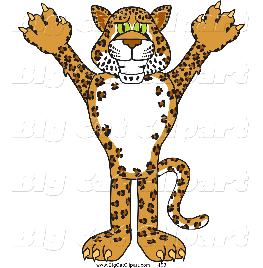 Big Cat Cartoon Vector Clipart of a Grinning Cheetah, Jaguar.