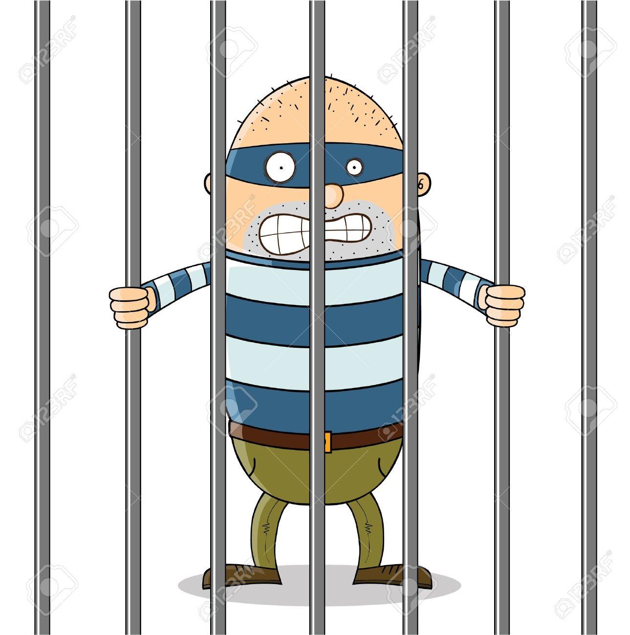 Cartoon Man In Jail Clipart.