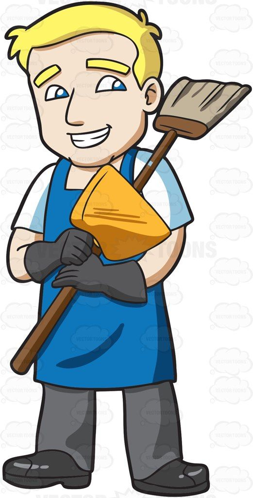 A janitor holding a broom and dustpan #cartoon #clipart.
