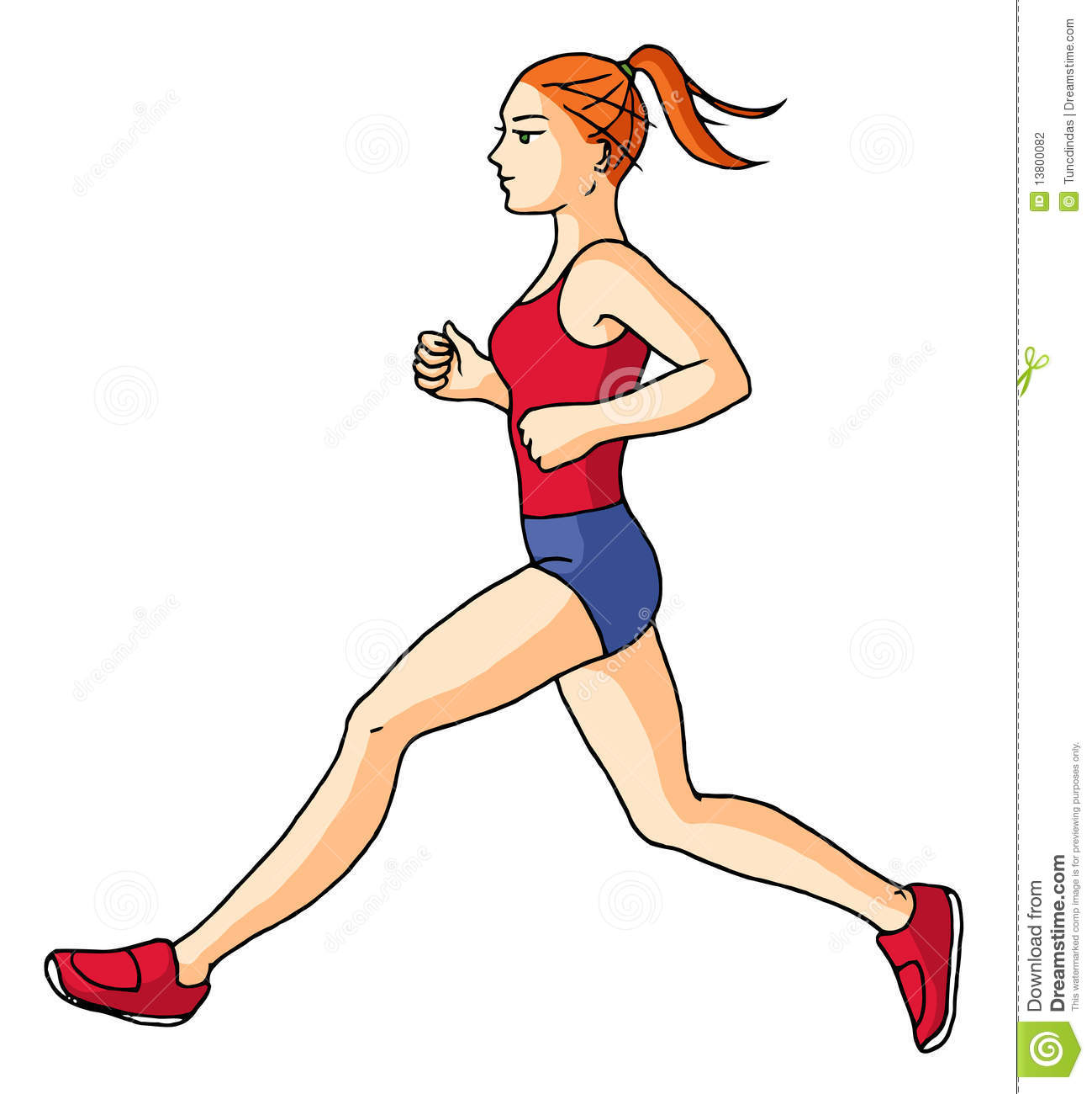 Girl Jogging Clipart.