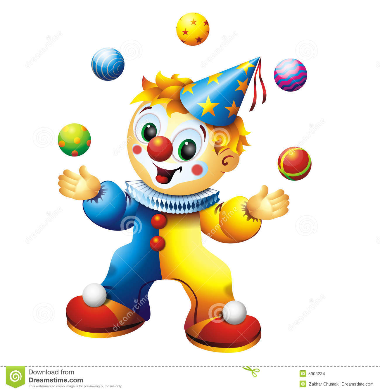 Circus Juggling Clown Cartoon.