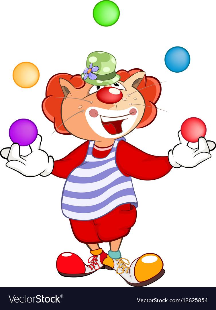Cute Cat Clown Juggler Cartoon.