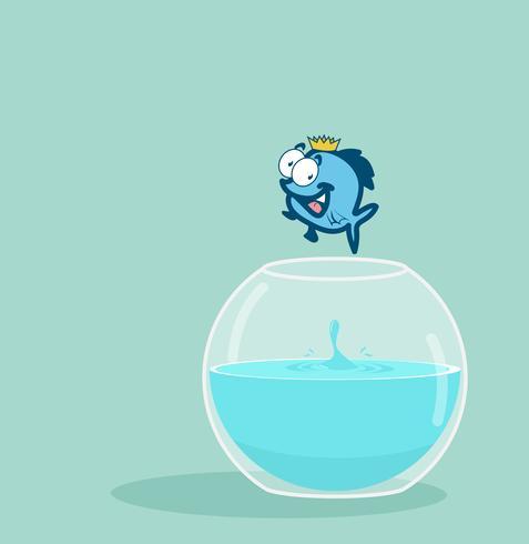 king fish jumping out of fishbowl.