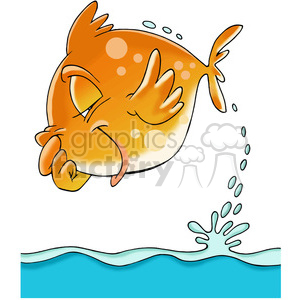 cartoon fish jumping out of water clipart. Royalty.