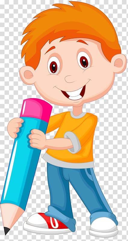Boy holding pencil illustration, Cartoon , Cute kids.