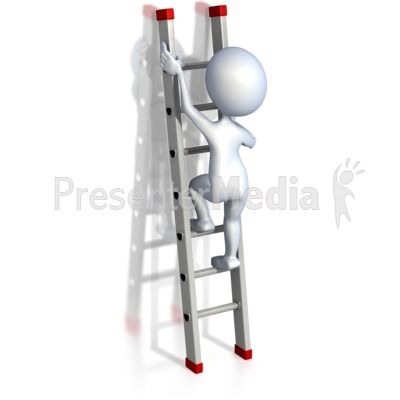 Stick Figure Climbing Ladder PowerPoint Clip Art.